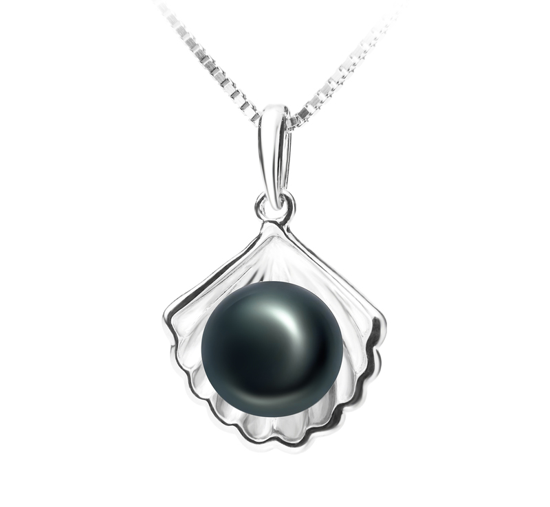 7-8mm AA Quality Freshwater Cultured Pearl Pendant in Shell Black - #2