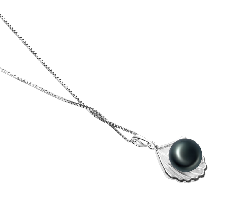 7-8mm AA Quality Freshwater Cultured Pearl Pendant in Shell Black - #3