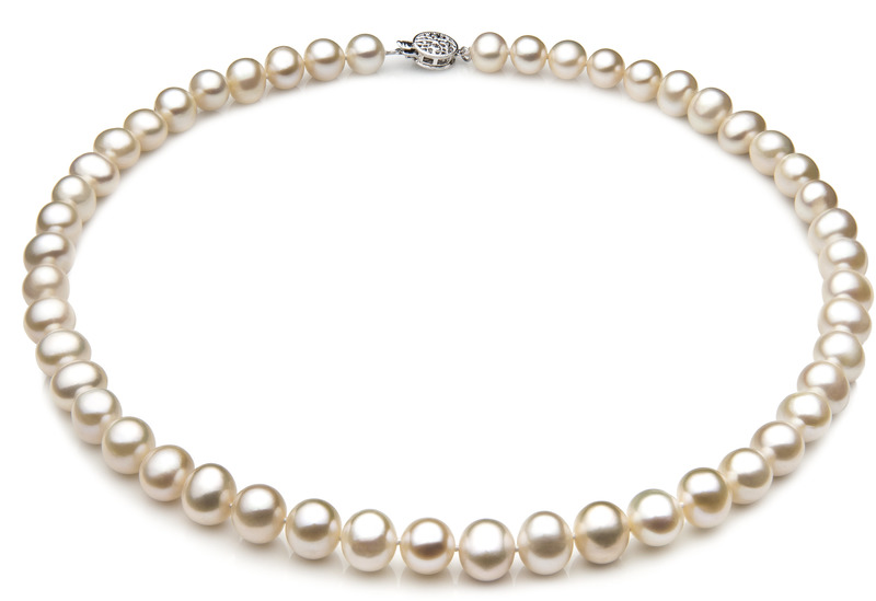 7-8mm A Quality Freshwater Cultured Pearl Necklace in Single White - #1