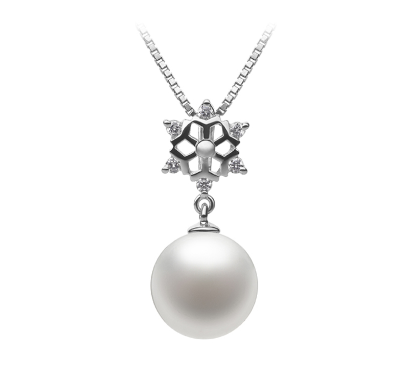 10-11mm AAAA Quality Freshwater Cultured Pearl Pendant in Snow White - #1