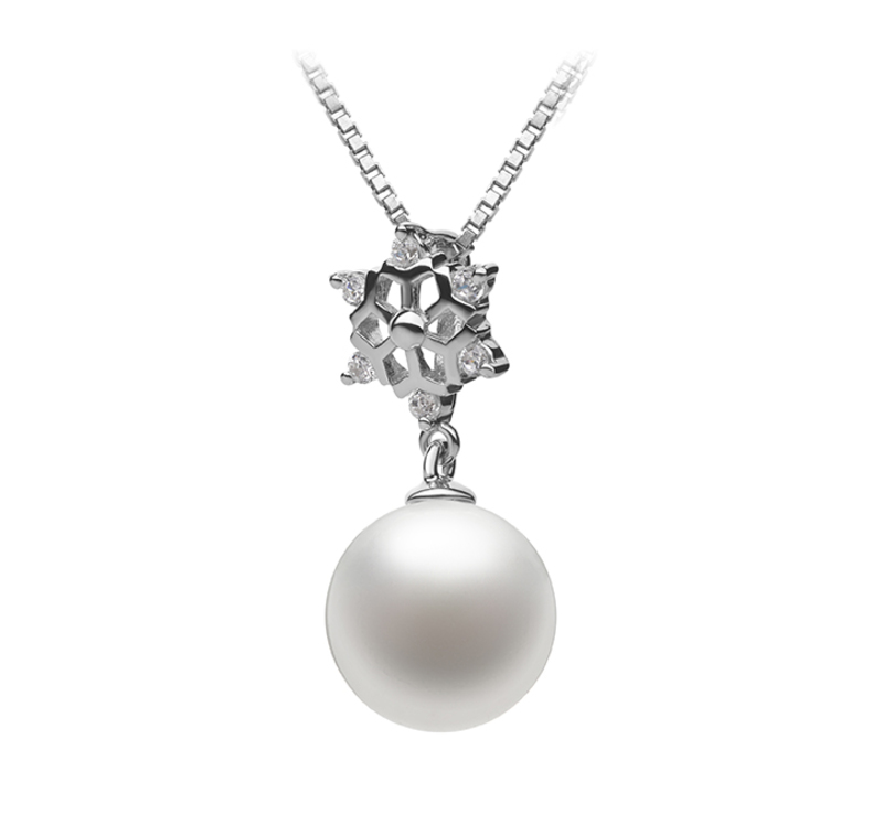 10-11mm AAAA Quality Freshwater Cultured Pearl Pendant in Snow White - #2