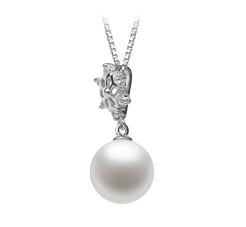 10-11mm AAAA Quality Freshwater Cultured Pearl Pendant in Snow White - #3