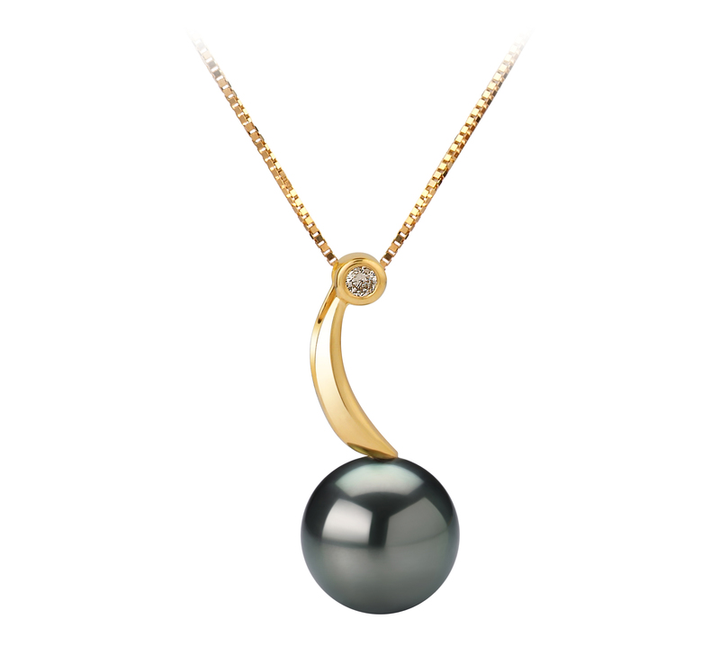 8-9mm AAA Quality Tahitian Cultured Pearl Pendant in Sora Black - #1