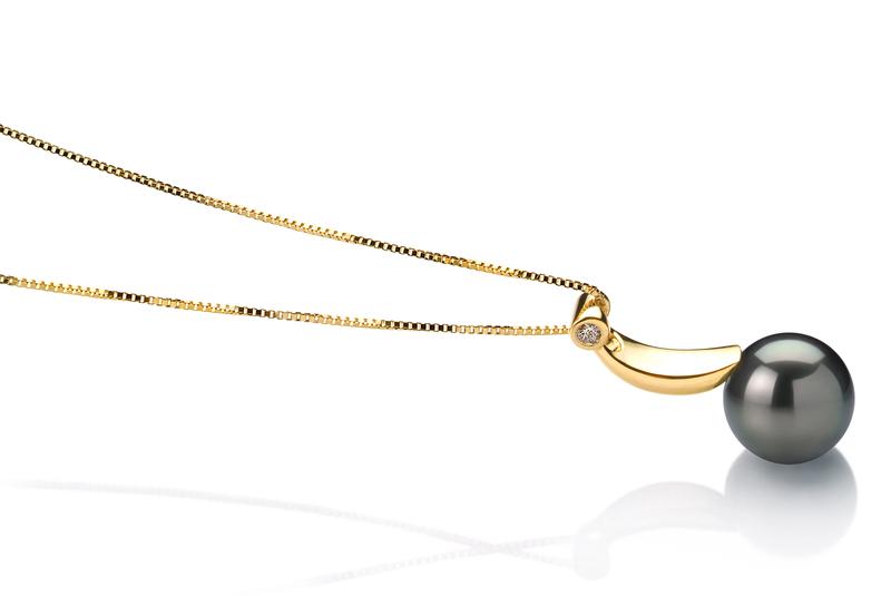 8-9mm AAA Quality Tahitian Cultured Pearl Pendant in Sora Black - #2