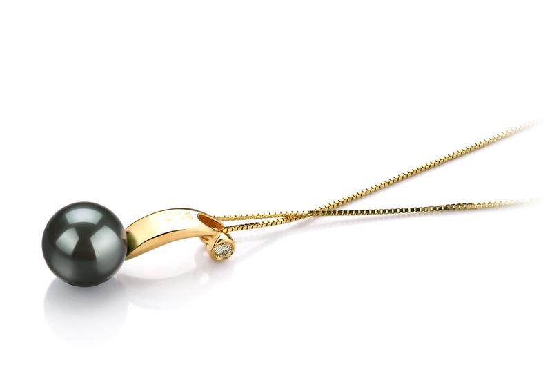 8-9mm AAA Quality Tahitian Cultured Pearl Pendant in Sora Black - #3