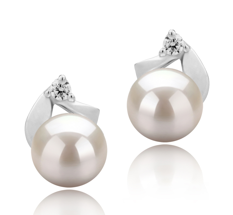 5-6mm AAAA Quality Freshwater Cultured Pearl Earring Pair in Tanita White - #1