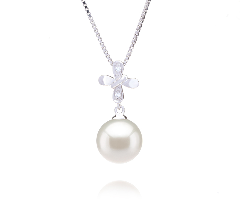 9-10mm AAAA Quality Freshwater Cultured Pearl Pendant in Taylor White - #1