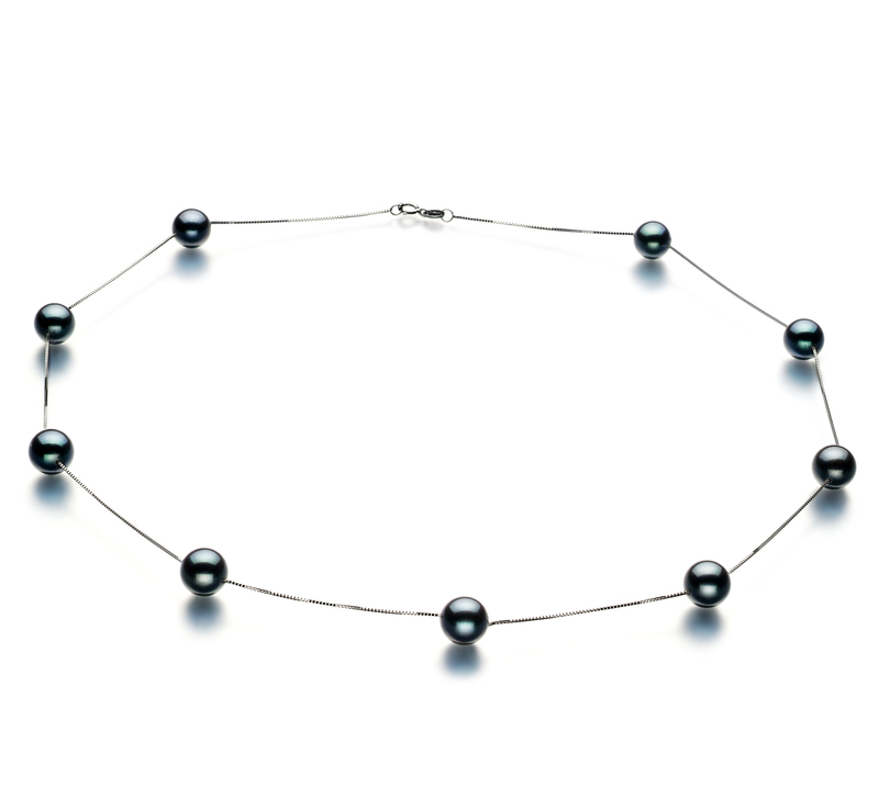 7-8mm AAA Quality Japanese Akoya Cultured Pearl Necklace in Tin Cup Black - #1