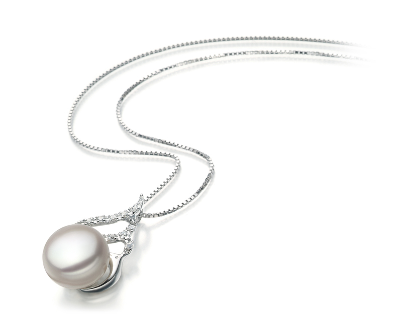 12-13mm AA Quality Freshwater Cultured Pearl Pendant in Tracy White - #2