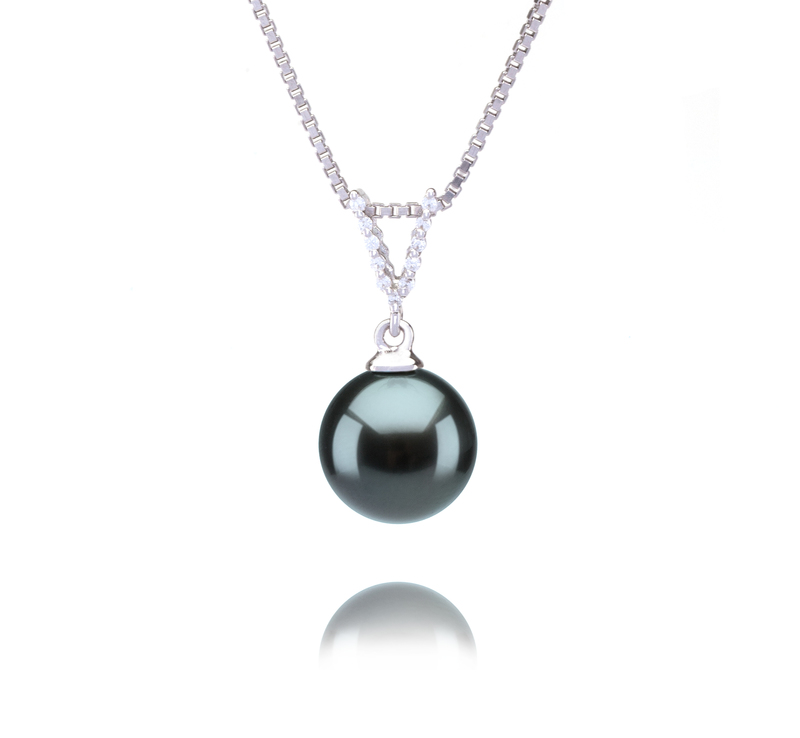 9-10mm AAA Quality Tahitian Cultured Pearl Pendant in Vondra Black - #1