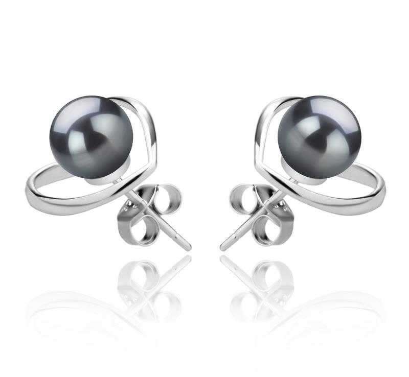6-7mm AAAA Quality Freshwater Cultured Pearl Earring Pair in Winna-Heart Black - #2