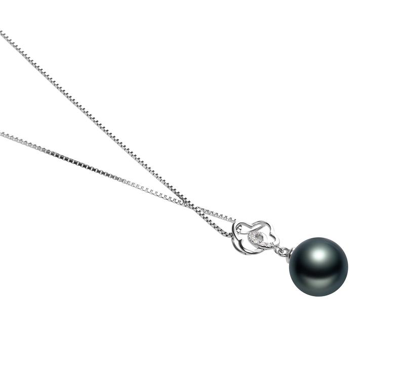 10-11mm AAA Quality Tahitian Cultured Pearl Pendant in Yael Black - #3