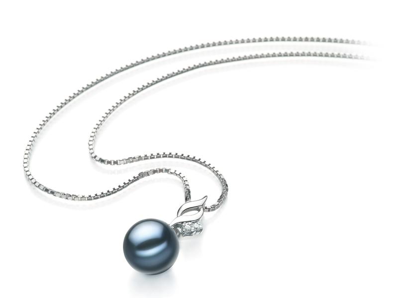 7-8mm AA Quality Japanese Akoya Cultured Pearl Pendant in Zalina Black - #2