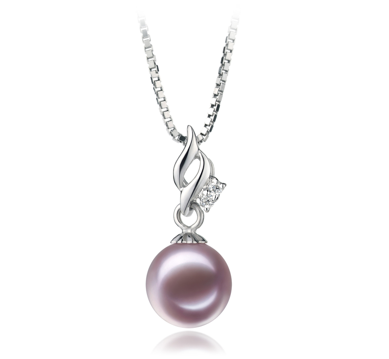 7-8mm AAAA Quality Freshwater Cultured Pearl Pendant in Zalina Lavender - #1