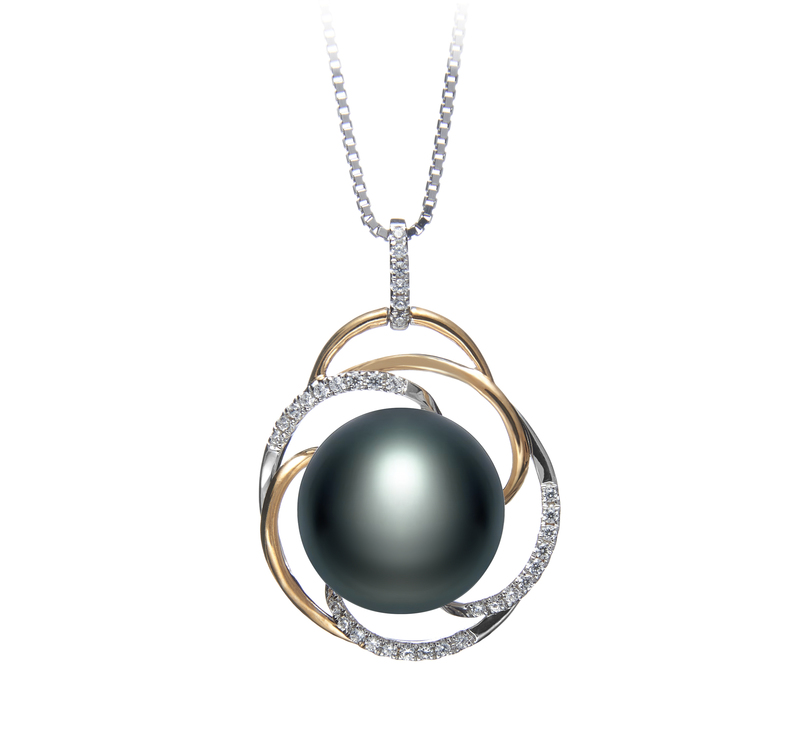 12-13mm AA Quality Freshwater Cultured Pearl Pendant in Zina Black - #1
