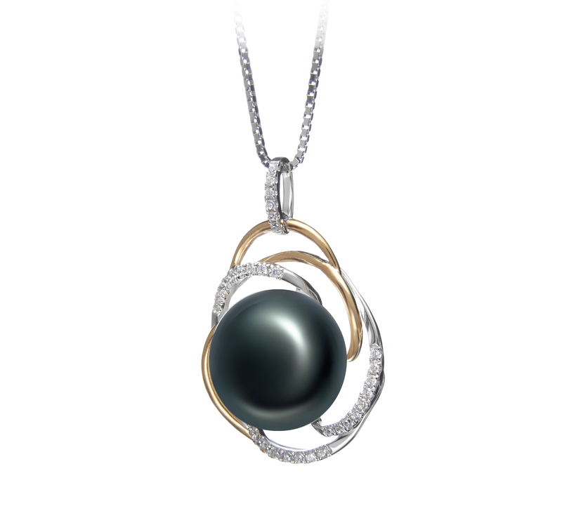 12-13mm AA Quality Freshwater Cultured Pearl Pendant in Zina Black - #2