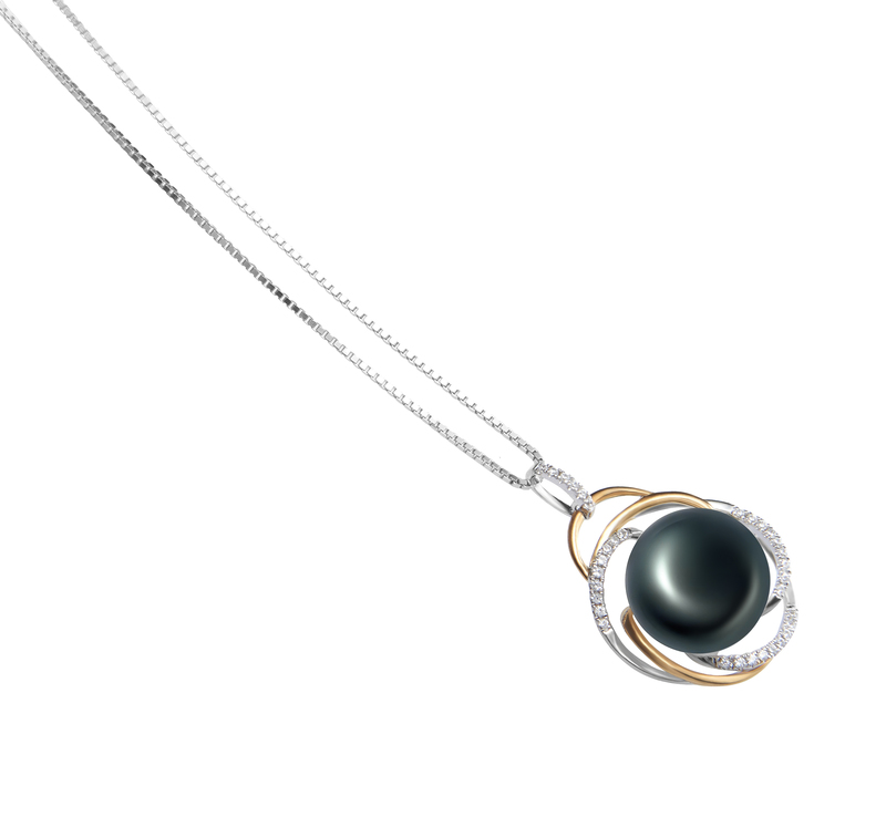 12-13mm AA Quality Freshwater Cultured Pearl Pendant in Zina Black - #3