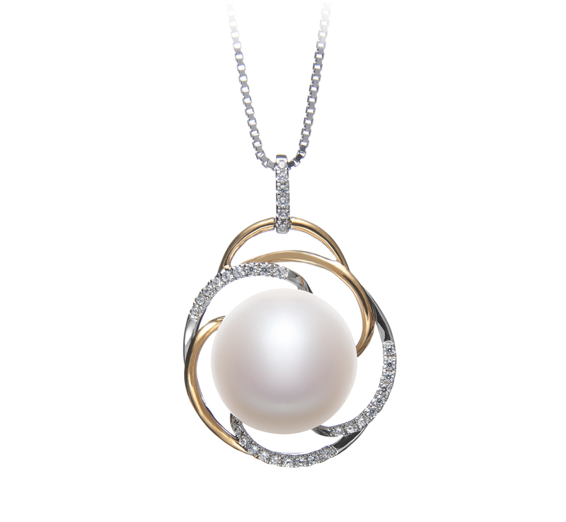 12-13mm AA Quality Freshwater Cultured Pearl Pendant in Zina White - #1