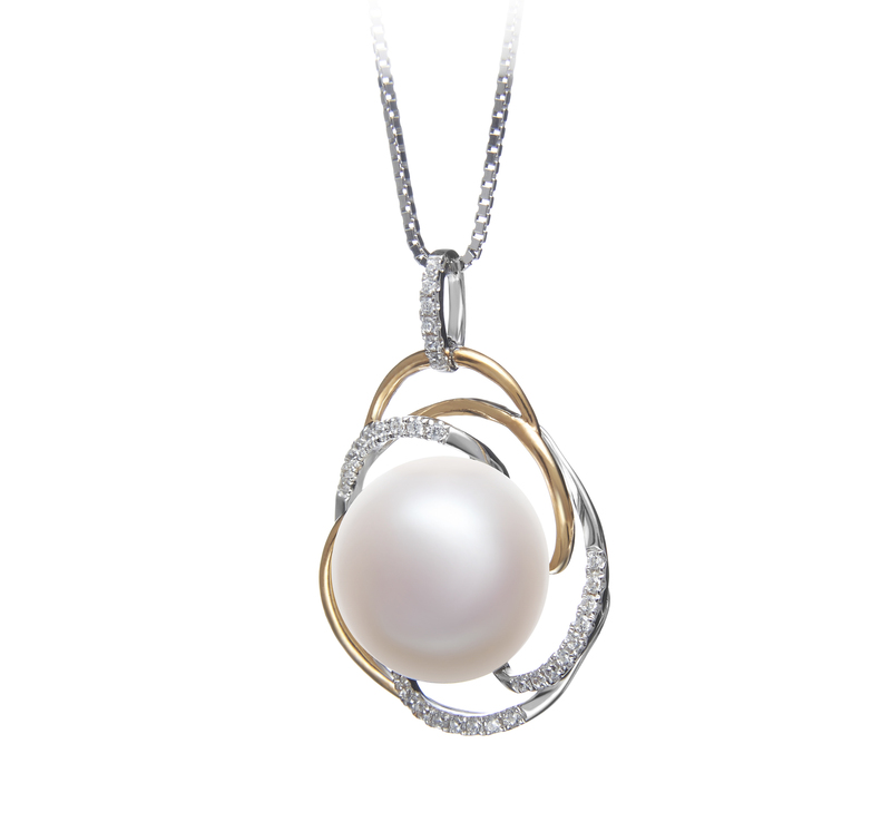 12-13mm AA Quality Freshwater Cultured Pearl Pendant in Zina White - #2
