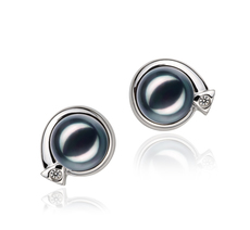 Angelina Black 7-8mm AA Quality Japanese Akoya 925 Sterling Silver Cultured Pearl Earring Pair Pearl Earring Set