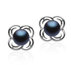 7-8mm AA Quality Freshwater Cultured Pearl Earring Pair in Bella Black