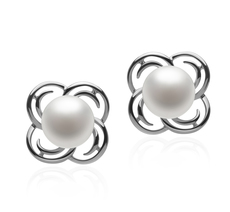 7-8mm AA Quality Freshwater Cultured Pearl Earring Pair in Bella White