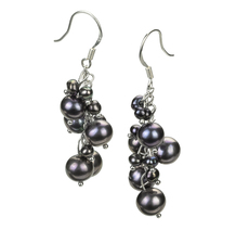 Brisa Black 3-7mm A Quality Freshwater Alloy Cultured Pearl Earring Pair Pearl Earring Set