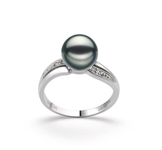 PearlsOnly - Caroline Black 7-8mm AAA Quality Japanese Akoya 14K White Gold Cultured Pearl Ring