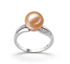 PearlsOnly - Caroline Pink 9-10mm AAAA Quality Freshwater 14K White Gold Cultured Pearl Ring