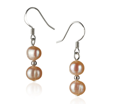 6-7mm A Quality Freshwater Cultured Pearl Earring Pair in Cerella Pink