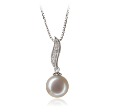 PearlsOnly - Clementina White 9-10mm AAA Quality Freshwater 925 Sterling Silver Cultured Pearl Pendant