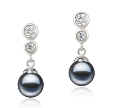 7-8mm AAAA Quality Freshwater Cultured Pearl Earring Pair in Colleen Black