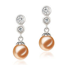 Colleen Pink 7-8mm AAAA Quality Freshwater 925 Sterling Silver Cultured Pearl Earring Pair Pearl Earring Set