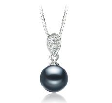 7-8mm AAAA Quality Freshwater Cultured Pearl Pendant in Daria Black