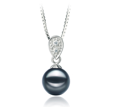 PearlsOnly - Daria Black 7-8mm AA Quality Japanese Akoya 925 Sterling Silver Cultured Pearl Pendant