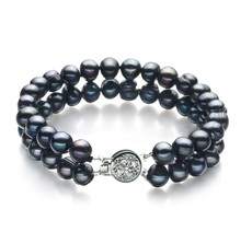 Double Strand Black 6-7mm A Quality Freshwater Pearl Bracelet