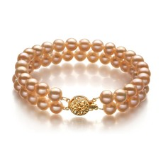 6-7mm AA Quality Freshwater Cultured Pearl Bracelet in Double Strand Pink