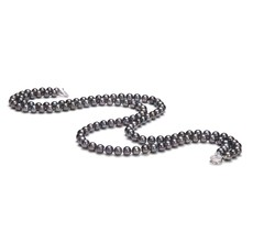 PearlsOnly - Double Strand Black 6-7mm AA Quality Freshwater Cultured Pearl Necklace