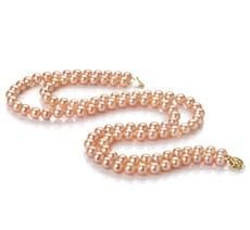 PearlsOnly - Double Strand Pink 7-8mm AA Quality Freshwater Cultured Pearl Necklace