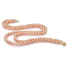 PearlsOnly - Double Strand Pink 6-7mm AA Quality Freshwater Cultured Pearl Necklace