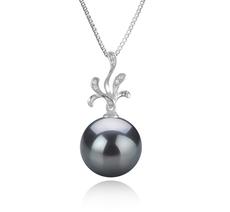 12-13mm AAA Quality Tahitian Cultured Pearl Pendant in Ebony Black