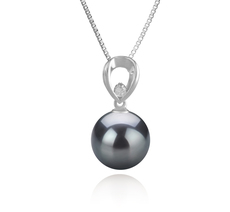 10-11mm AAA Quality Tahitian Cultured Pearl Pendant in Emilia Black