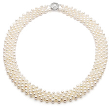 3-4mm AA Quality Freshwater Cultured Pearl Necklace in Five Row White