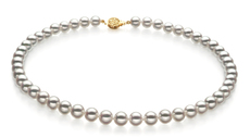 Hanadama 23-inch White 7.5-8mm Hanadama - AAAA Quality Japanese Akoya 14K Yellow Gold Cultured Pearl Necklace
