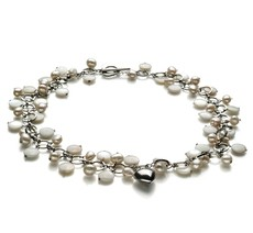 6-7mm A Quality Freshwater Cultured Pearl Necklace in Harmony - Pearl with Heart Charms White