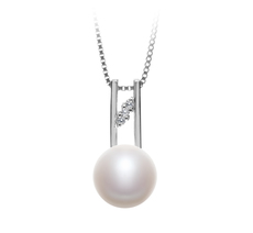 9-10mm AA Quality Freshwater Cultured Pearl Pendant in Hiriko White