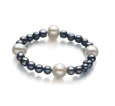 PearlsOnly - Irina Black and White 6-11mm A Quality Freshwater Cultured Pearl Bracelet