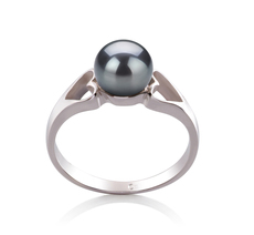 PearlsOnly - Jessica Black 6-7mm AA Quality Freshwater 925 Sterling Silver Cultured Pearl Ring