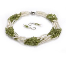 Kalei Green and White 3-4mm Baroque Quality Freshwater Pearl Necklace