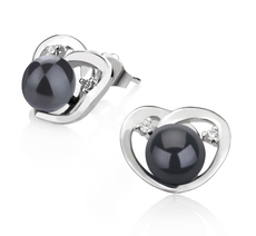 7-8mm AA Quality Freshwater Cultured Pearl Earring Pair in Katie Heart Black